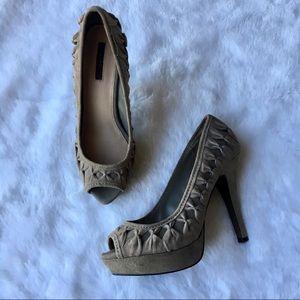 Zara Peep Toe Faux Suede Heels Pumps 8